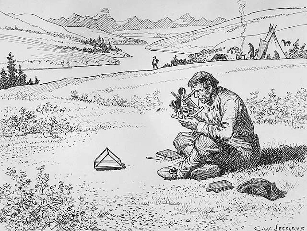 Another sketch by C.W. Jefferys, this time of Thompson using a sextant to map out his progress.