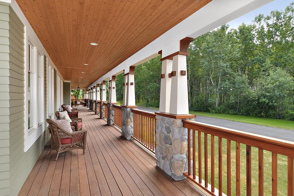 The wrap-around cedar porch has built-in Bose speakers so you can listen to music outside.