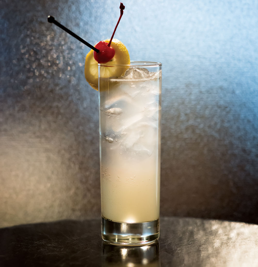 Tom Collins mixed and photographed at the Oak Room at the Fairmont Palliser.