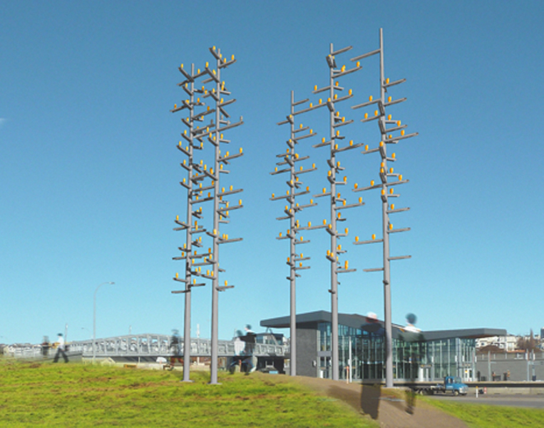 From up close, the poles seem random, but when viewed at a distance, they will appear to form perfect circles.