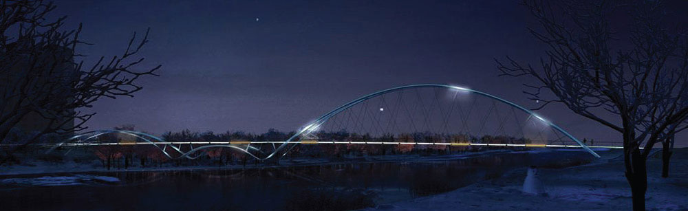 A drawing of the St Patrick's bridge at night.