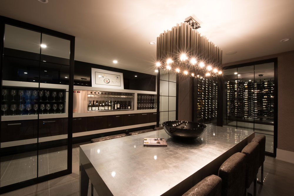 Some 800 bottles of wine were rescued from the Tsubouchis' original wine cellar after the 2013 flood. The updated space features a climate-controlled storage room and a customized 14-bottle wine dispenser, which is put to good use when the couple entertains friends or business clients.